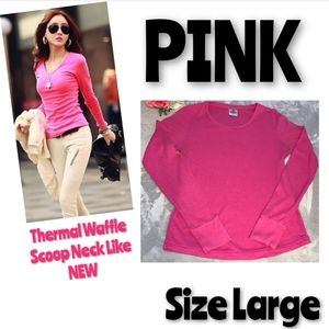 PINK by Victorias Secret Waffle Thermal Top Size L